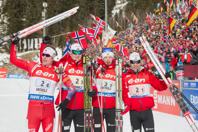 25.01.2015, Antholz, Italy (ITA): Emil Hegle Svendsen (NOR), Johannes Thingnes Boe (NOR), Tarjei Boe (NOR), Ole Einar Bjoerndalen (NOR) - IBU world cup biathlon, relay men, Antholz (ITA). www.nordicfocus.com. © Manzoni/NordicFocus. Every downloaded picture is fee-liable.