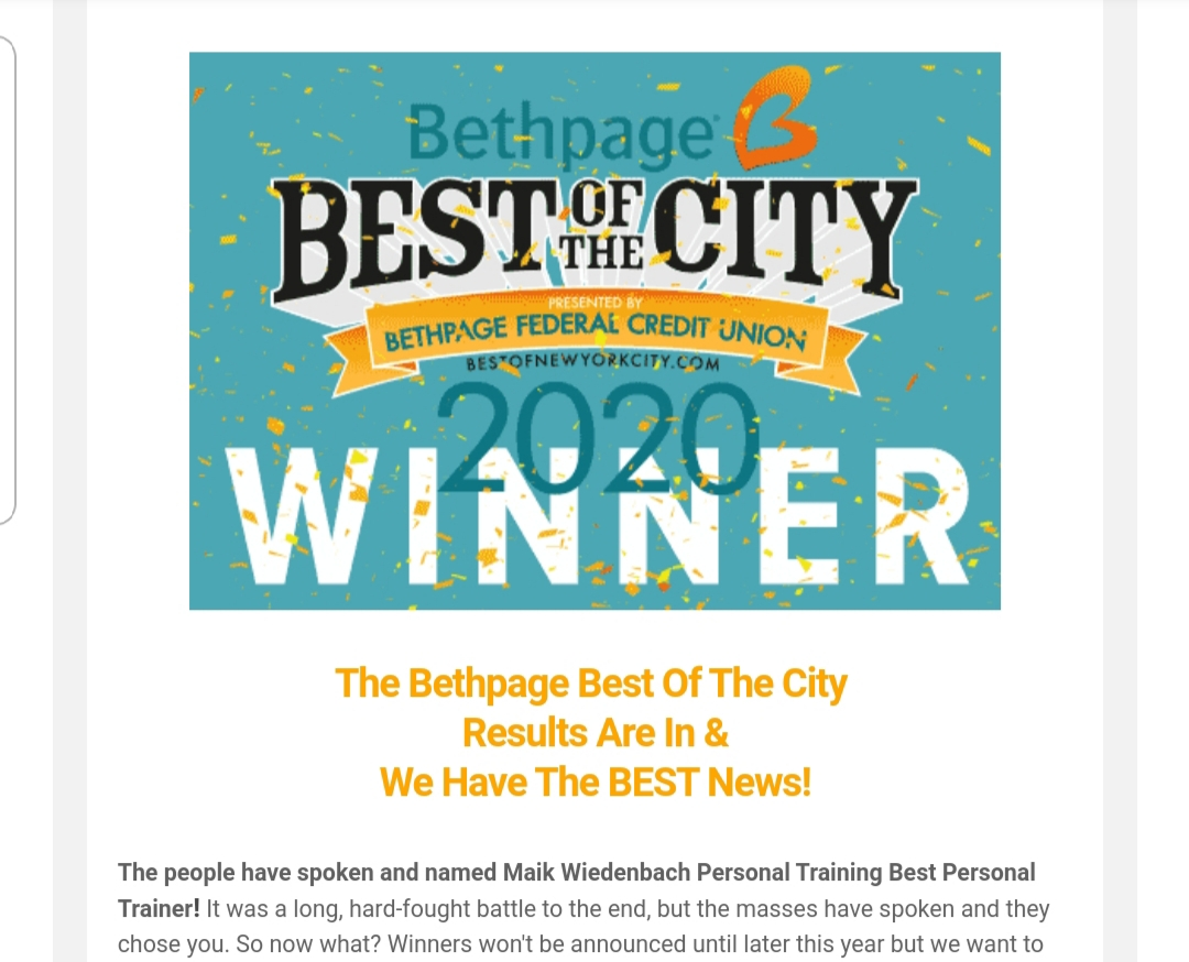 We won best personal trainer in NYC!