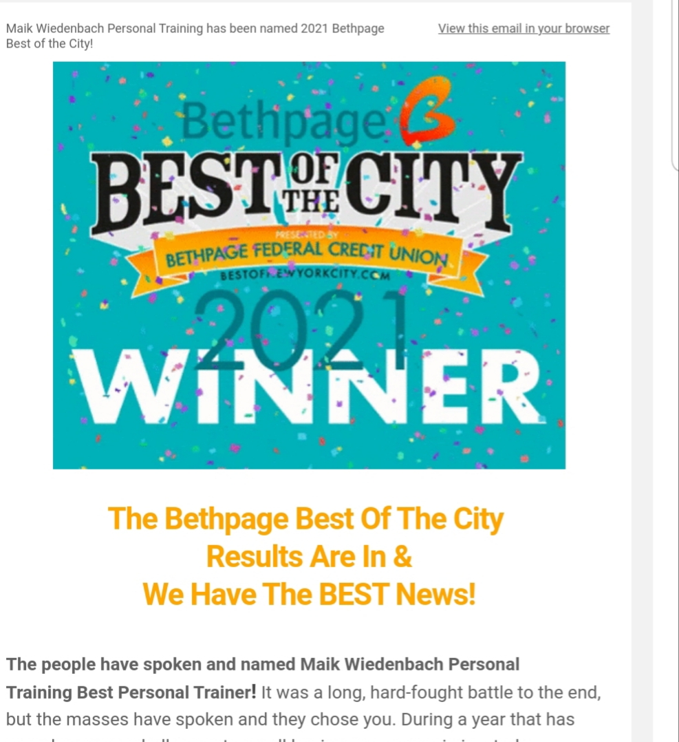 We won again! Best Personal Trainer NYC!